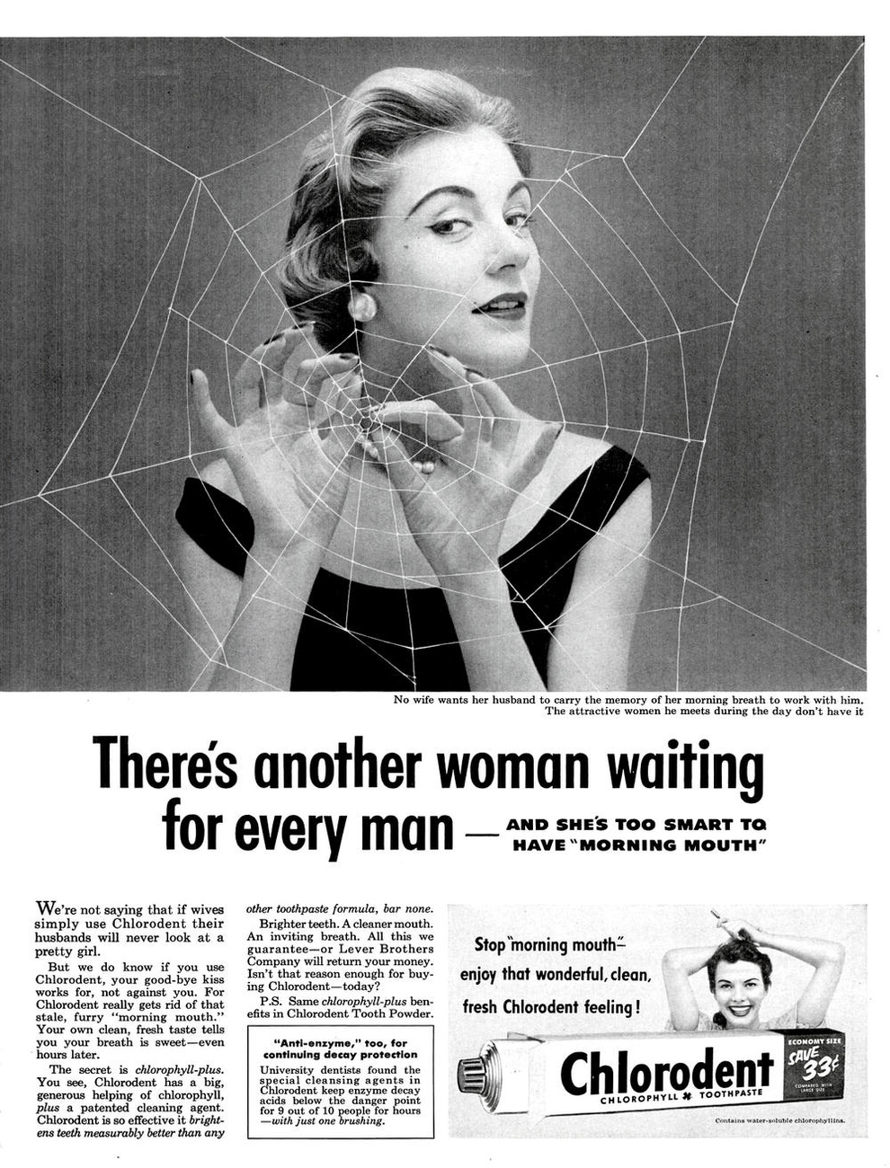 Image source http://www.spectacledmarketer.com/wp-content/uploads/2013/10/9_Vintage_Ad.jpg - Obvious gender role issues aside - A vintage Chlorodent ad