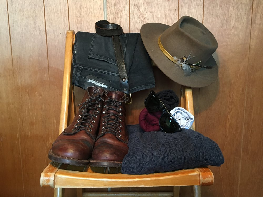The Jimmy look - Boots, basic t-shirt (usually black), black jeans and a wide brimmed hat - If weather permits a cozy cable-knit is a must.
