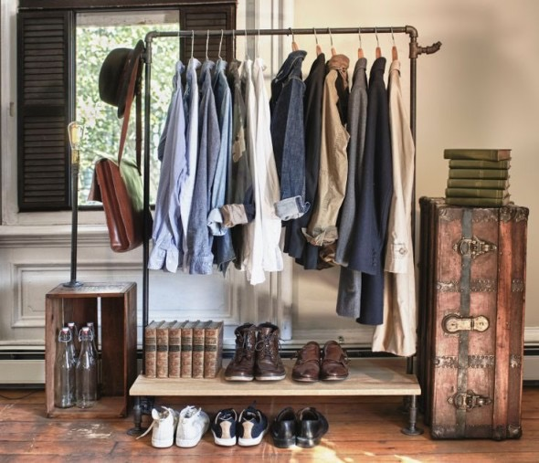 This hipster's wardrobe is a bit next level... He's even been to Bunnings and put a pipe wardrobe together!