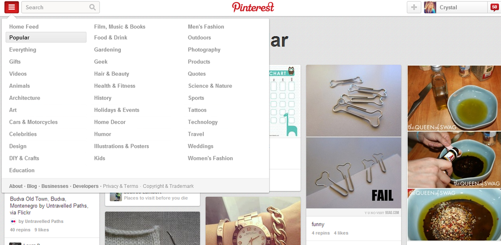 pinterest search popular