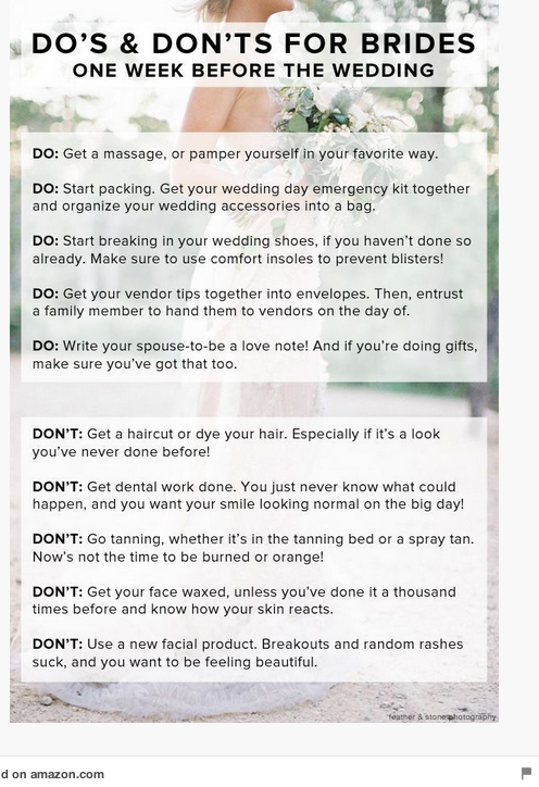 dos and donts for brides