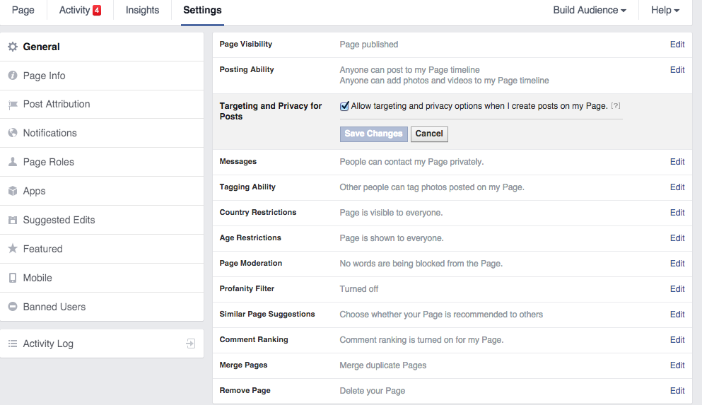 turn on audience insights in facebook settings