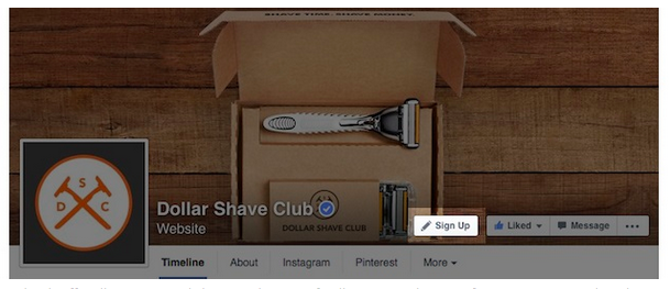 CTA Button Example on Dollar Shave Club's Facebook Page