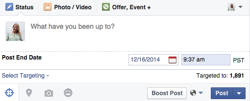 facebook post end date