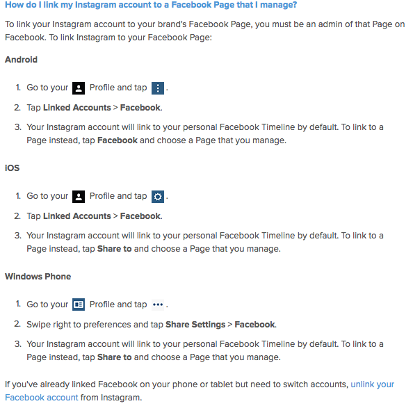 how to sync a facebook business page to an instagram account