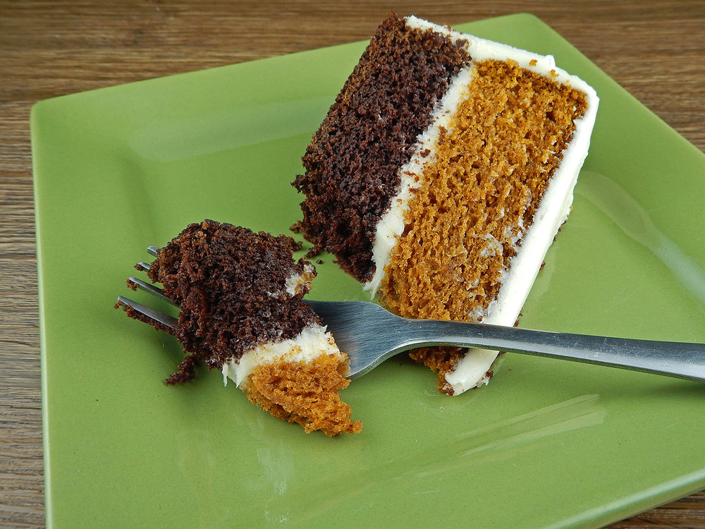 Chocolate and Pumpkin Layer Cake with Cream Cheese Frosting