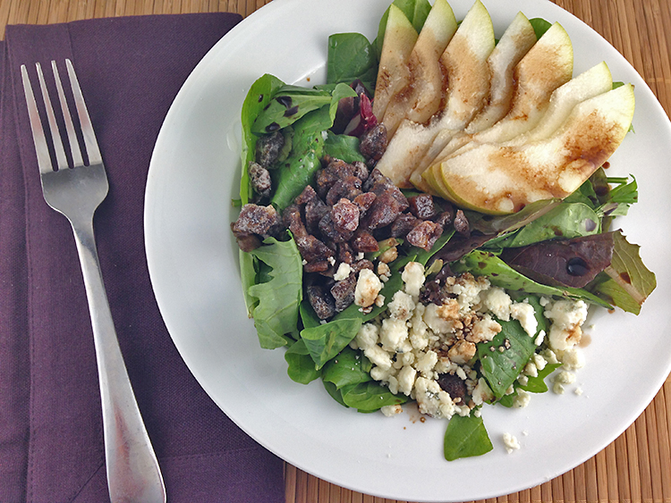 Pear Salad with Chopped Candied Dates and Blue Cheese