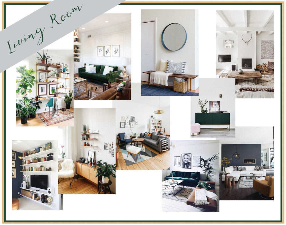 My mood board for the living room is part realistic, part dream. A lot of my home decor fantasies center around an emerald velvet sofa which are not only expensive, but so not puppy proof! However, the idea of having a clean, minimal living room with neutral colors and a nice new couch (preferably jewel toned, velvet or not) is within our reach.