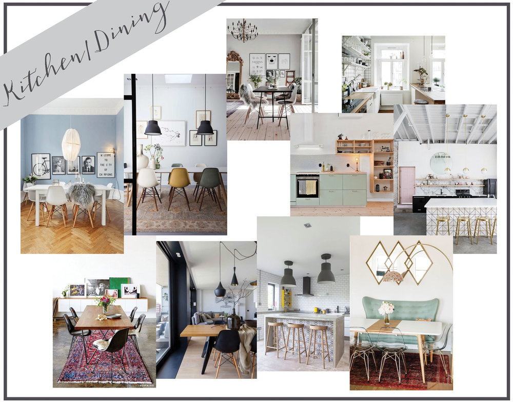 This too is mostly a 'someday when we own a home' vision board. But I do love these different dining room tables.I love mismatched chairs and bold framed photos and interesting light fixtures. It's all about working with what you've got and I'm very excited to take a new space and make it our own! There's so much you can do to a house with out replacing tiles or cabinets. Sometimes some fresh paint and a few great pieces of furniture is all you need! It's a process but one that can be so enjoyable, especially if you already have mood boards to work from!