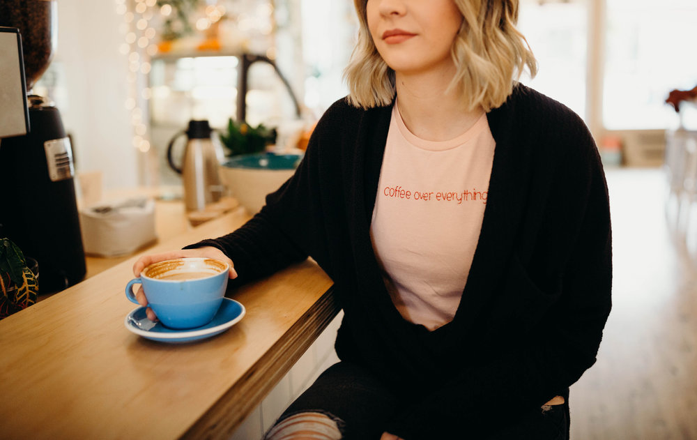 coffee over everything pink tee