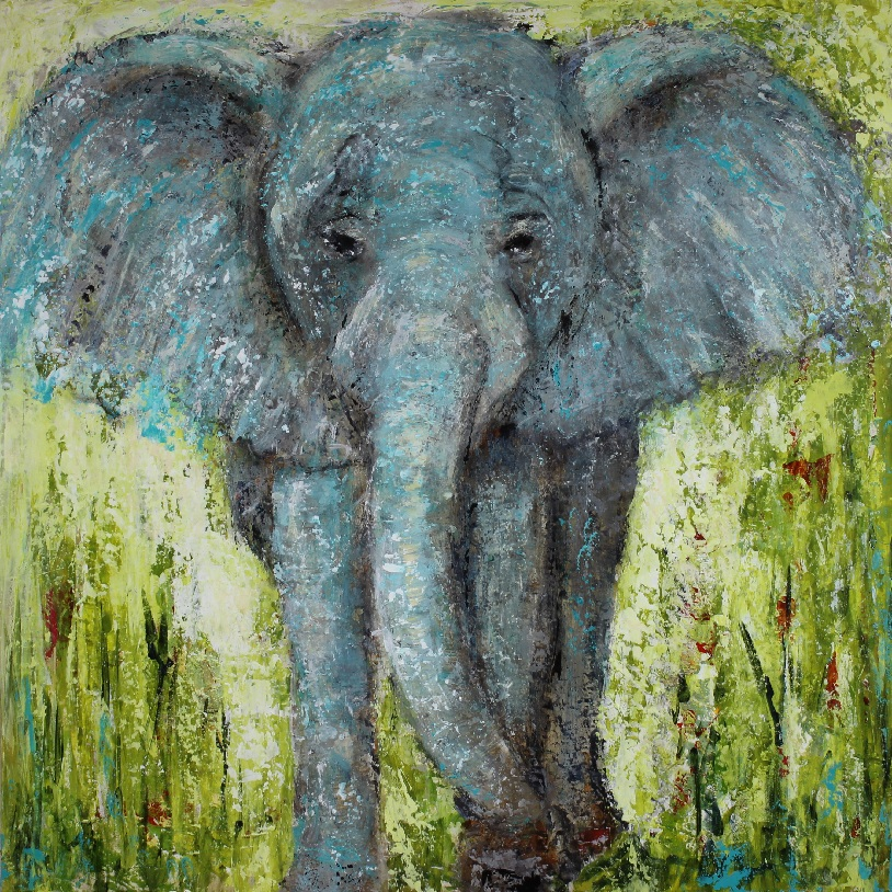 """Elephant Magic"" 24""x24"" mixed media painting on birch cradle panel. $425"