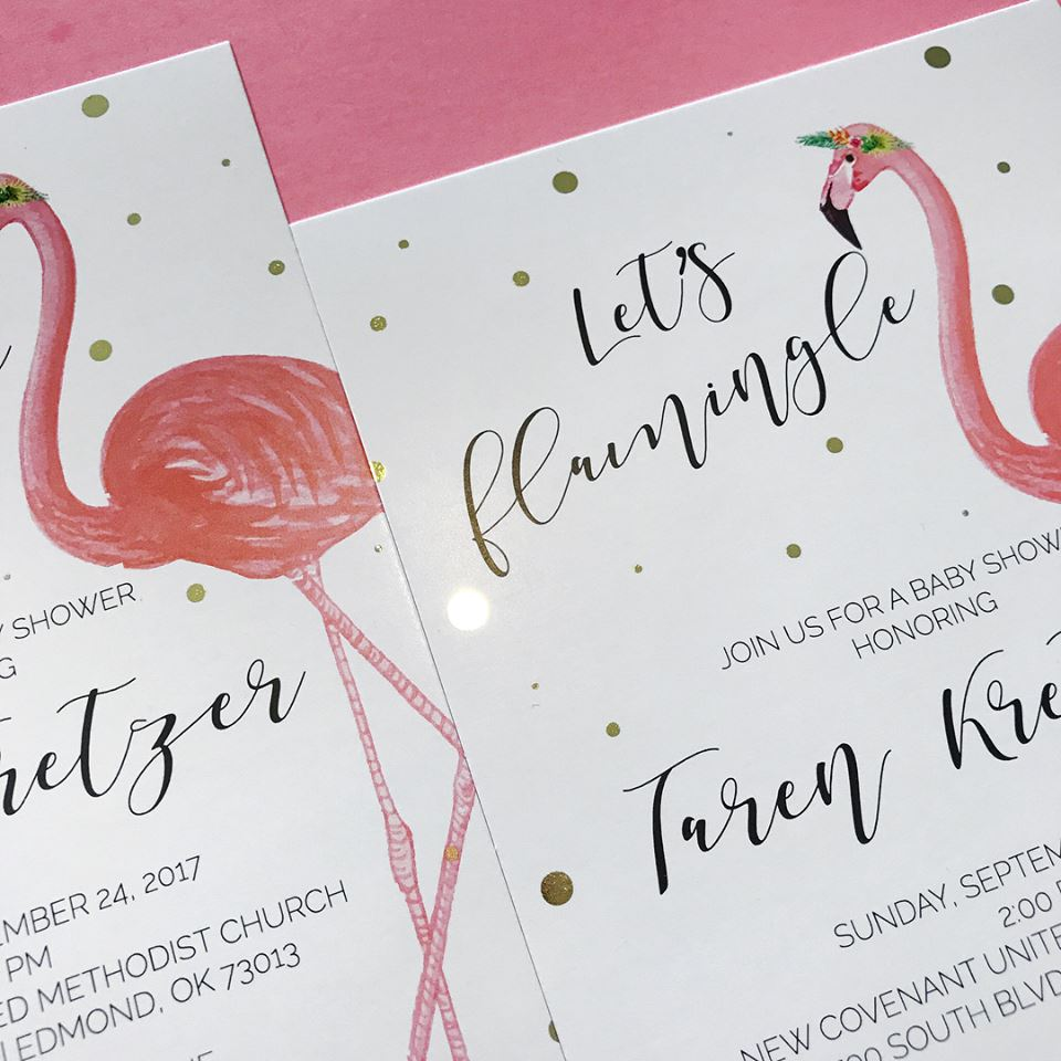 Let's Flamingle Baby Shower Invites