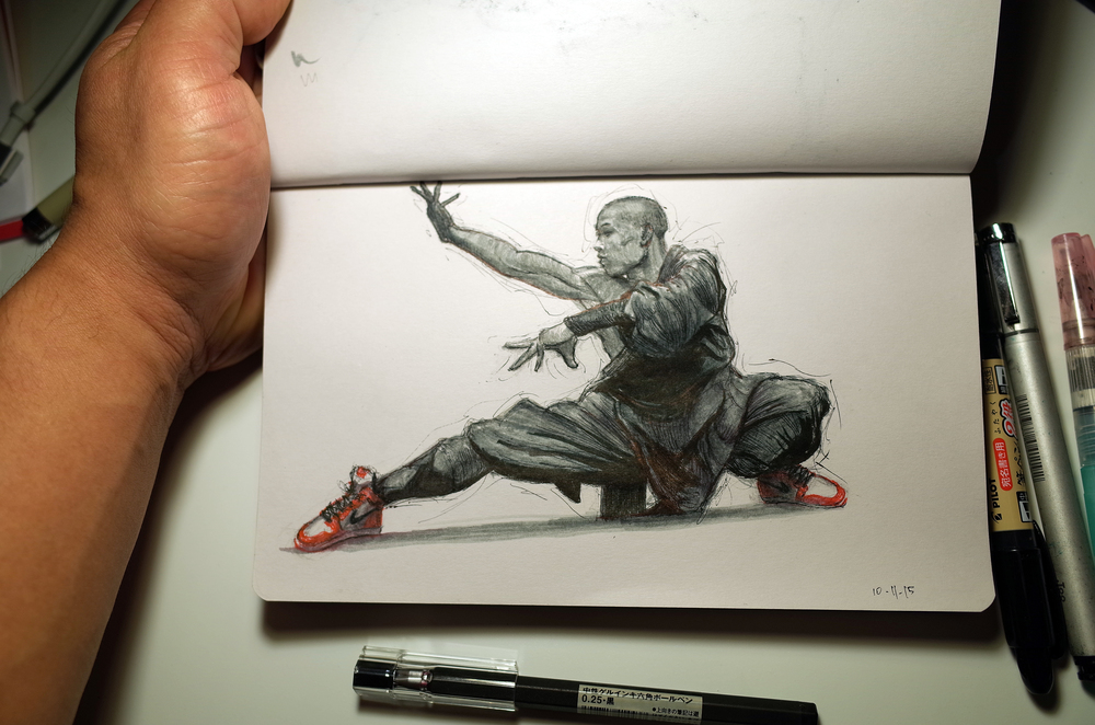 Crouching Monk - Day 11 for Inktober.
