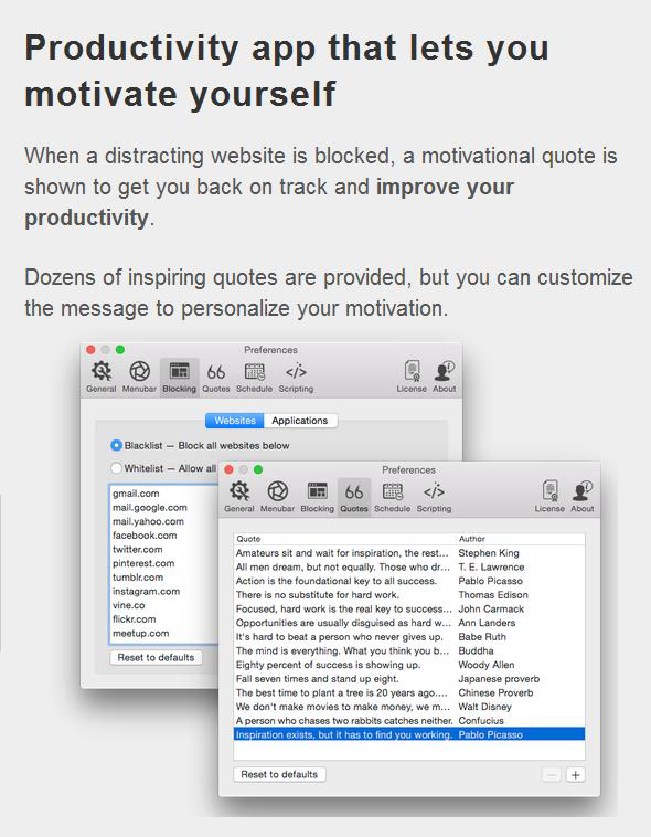 Focus: It is a productivity app that is integrated into your computer that incorporates additional interactivity such as break activity generators and music playing to help you get focused in your work