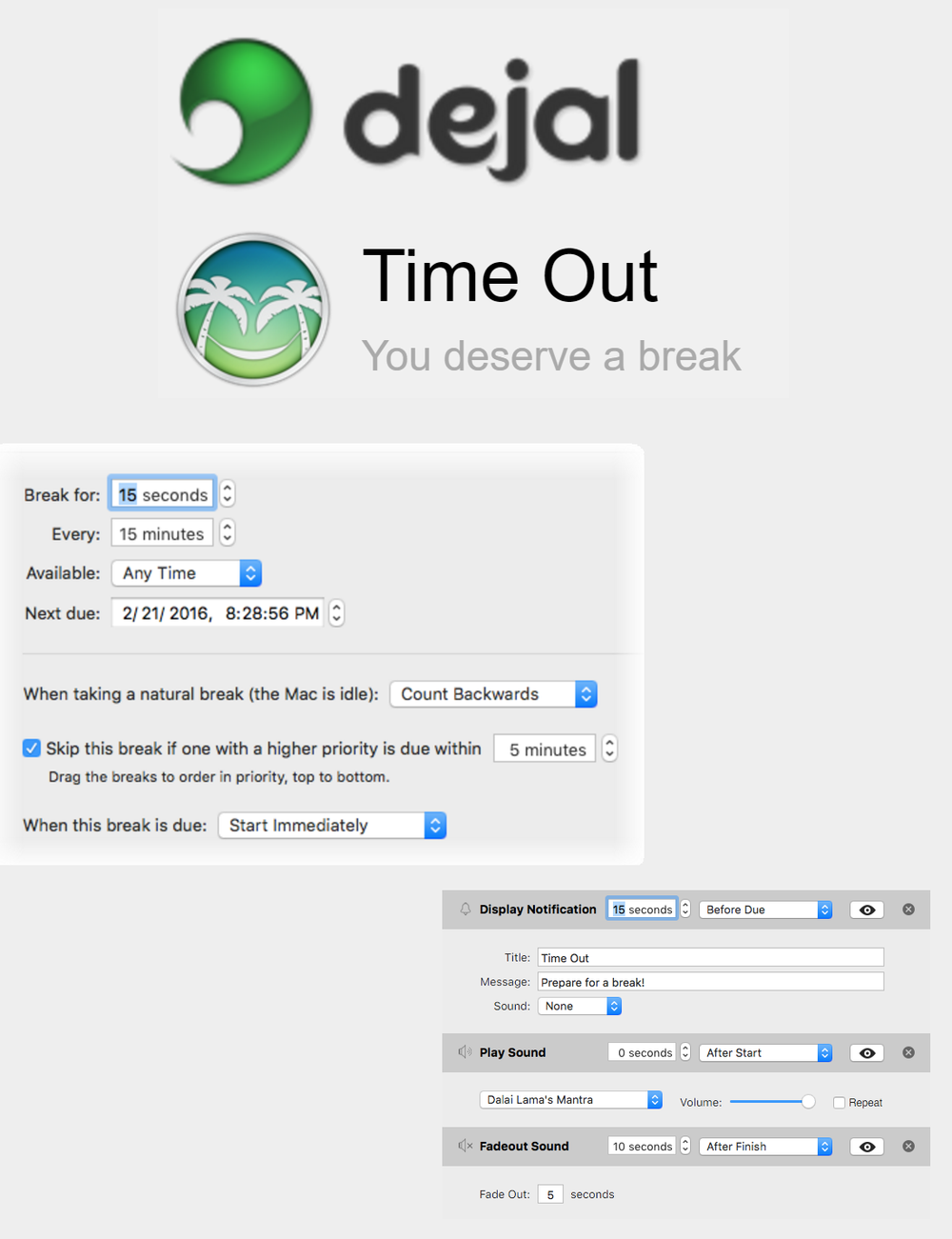 A mac app that works to gently remind users to take breaks form their laptops on a regular basis.