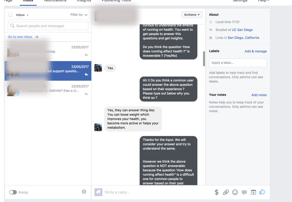 Pilot Study (Chatbot simulation using Messenger)