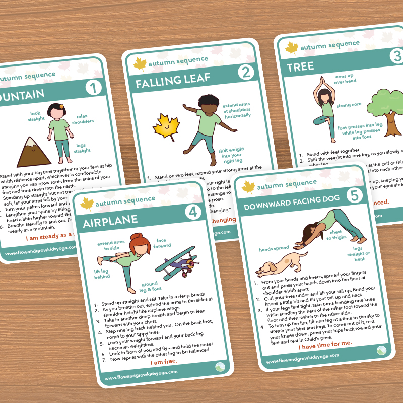 Autumn Sequence Printable Yoga Cards