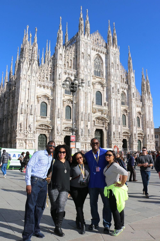 Ademola, Arleta, Donielle and us at Piazza del Duomo