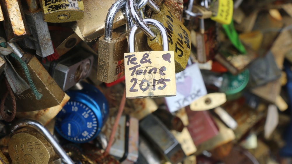 Té & Toine's lock on Pont Du Arts bridge in Paris.