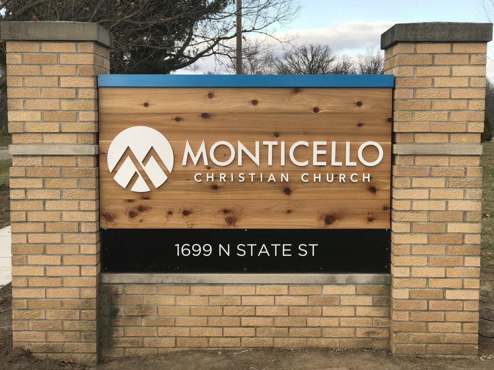 Big Picture Imagery Signs and Service - Monticello Christian Church - Outdoor Cedar Laser Cut Acrylic Dimensional Sign.jpg