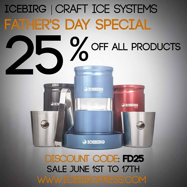 Father's Day 2018 is just around the corner, and ICEBIRG has just what you need! This is our biggest discount yet with 25% off of EVERYTHING! Give Dad something he really wants this year!  DISCOUNT CODE: FD25 Good now through the 17th!  #ICEBIRG #SCOTCH #WHISKEY #WHISKY #SINGLEMALT #BOURBON #IRISHWHISKEY #CLEARICE #ICEBALLPRESS #CLEARICEBALL #GIVEDADPERFECTBALLS