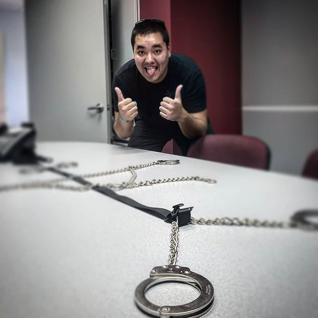 Yup...things got really weird in our conference room today LOL... @brownbear_six #shackles #slapandtickle #caseofthethursdays #creatives #weirdworkplace