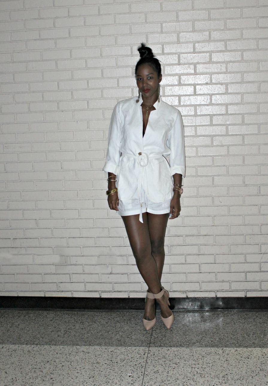 Gap Linen Blazer, H&M Linen Shorts, Steve Madden Nude Ankle Pumps