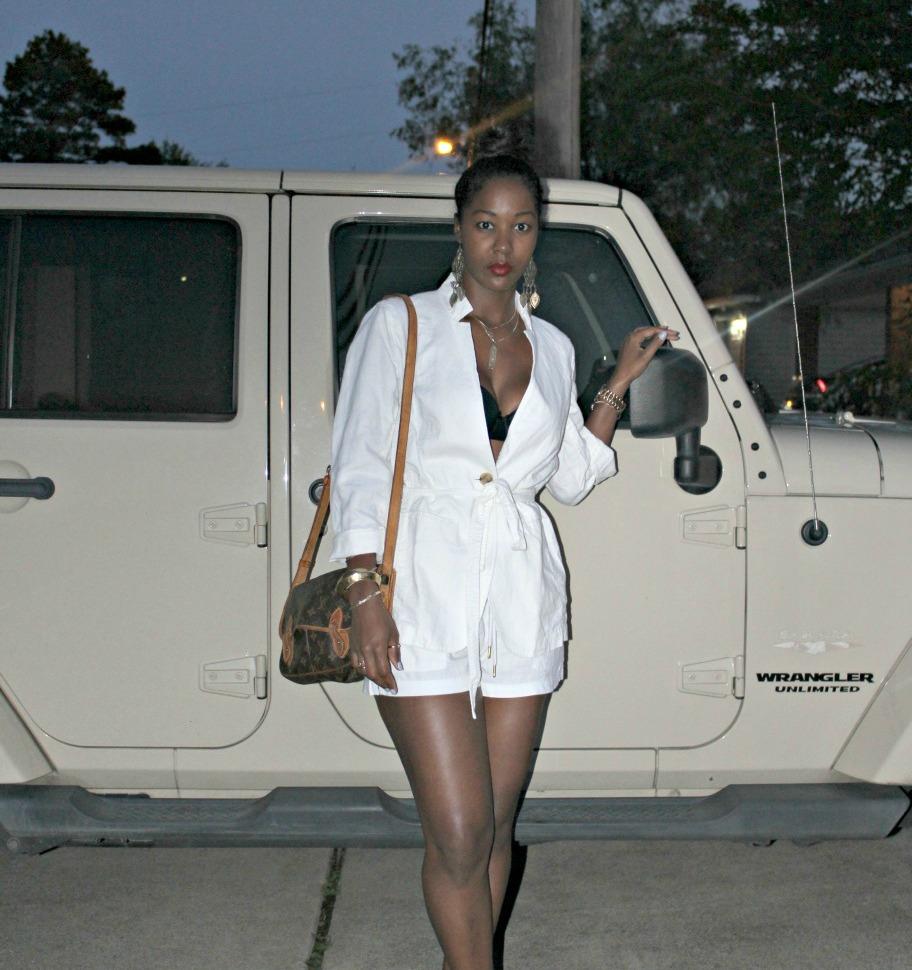 White Linen Blazer, HM Linen Shorts