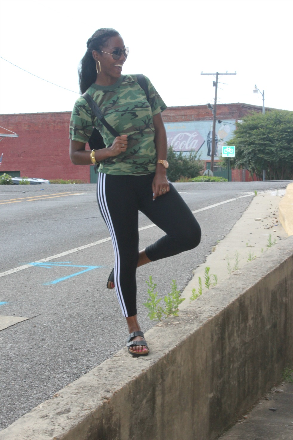 Urban Renewal Recycled Camo tee  , Adidas Tights, Birkenstock sandals
