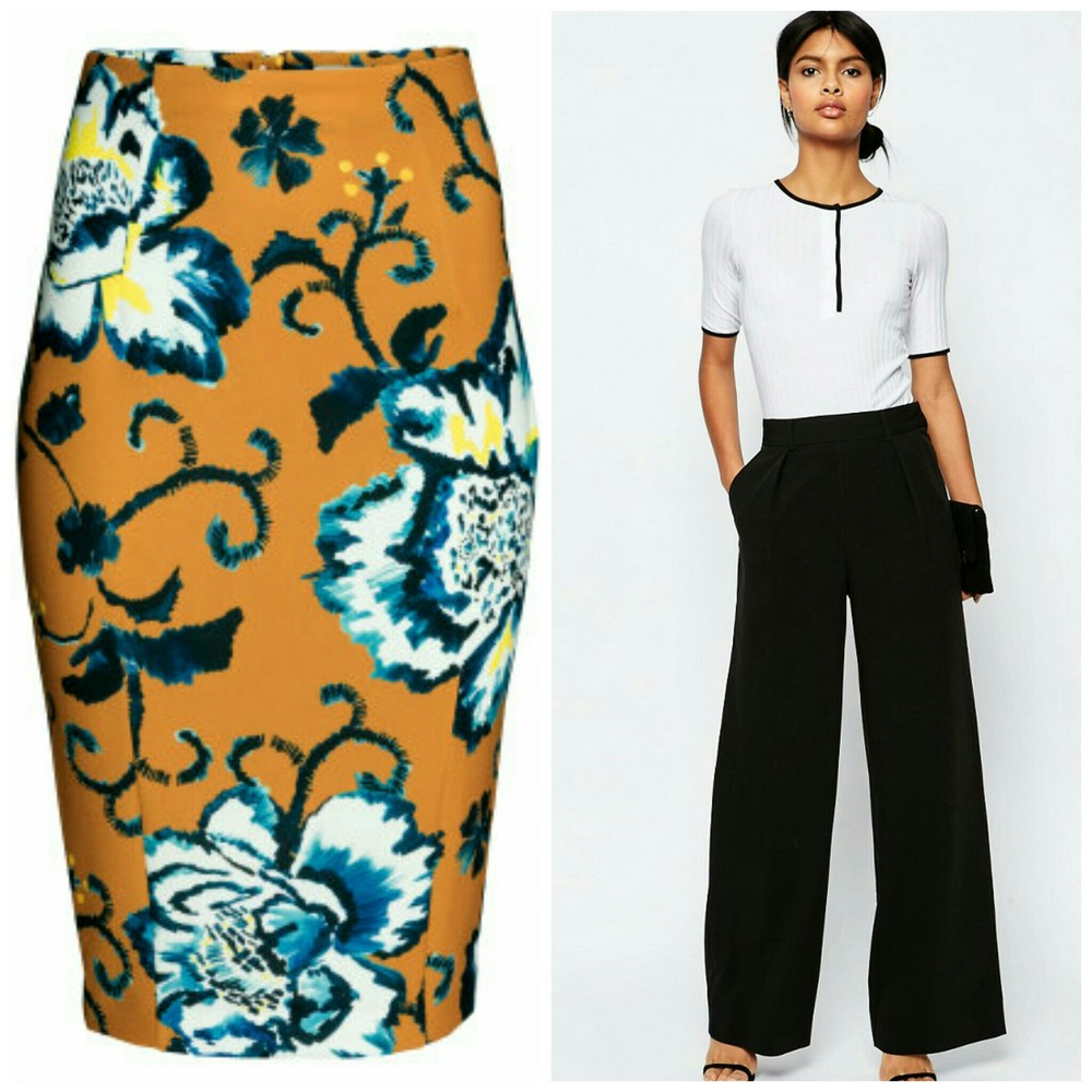 HM Pencil Skirt, ASOS Wide Leg Pleat Pants