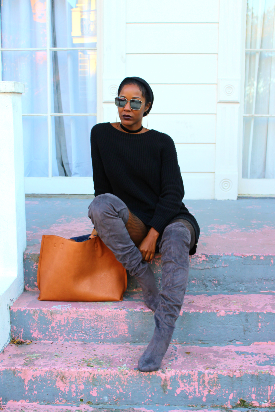 Gap oversized sweater and H&M over the knee boots