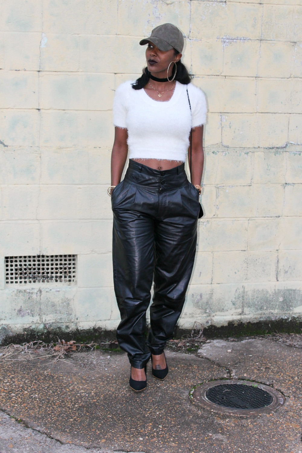 Black Vintage Leather Pants