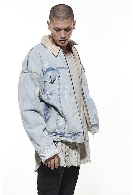 Sherpa Lined Denim Trucker Jacket - $135.00