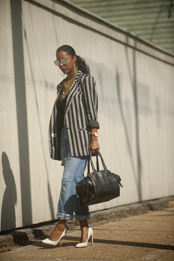 Vintage Striped Blazer with Shoulder Pads