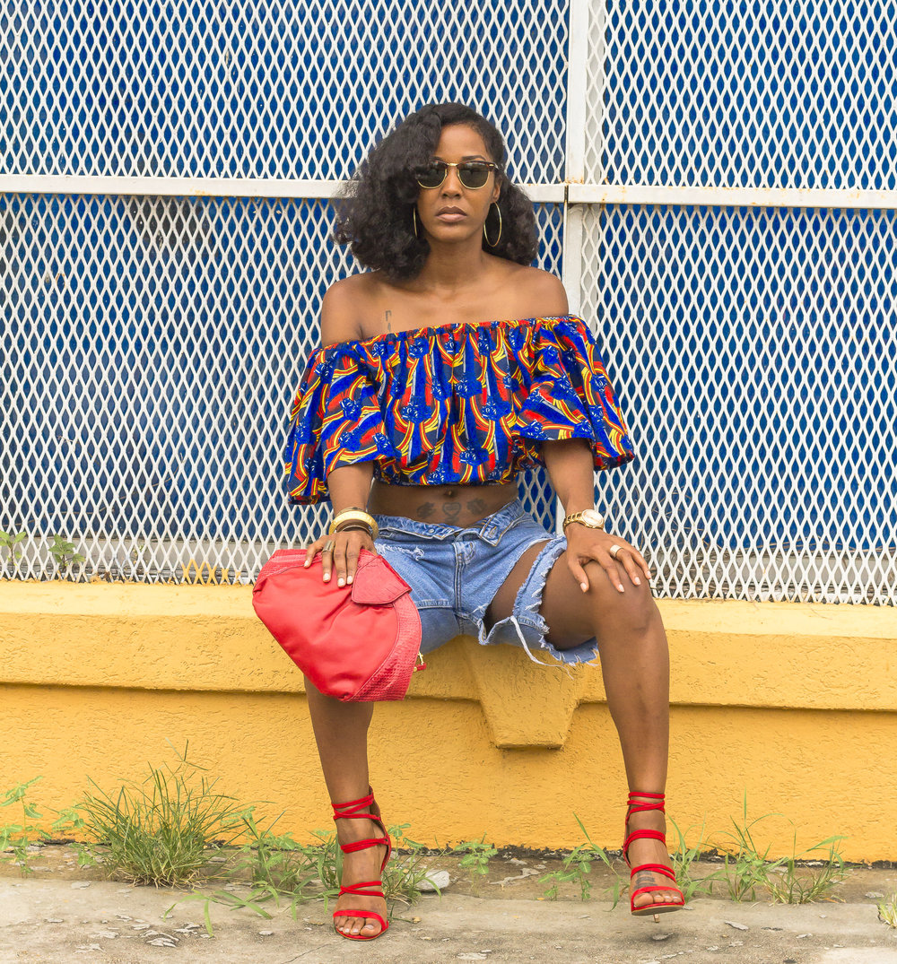 African Print Aafin Off Shoulder Top