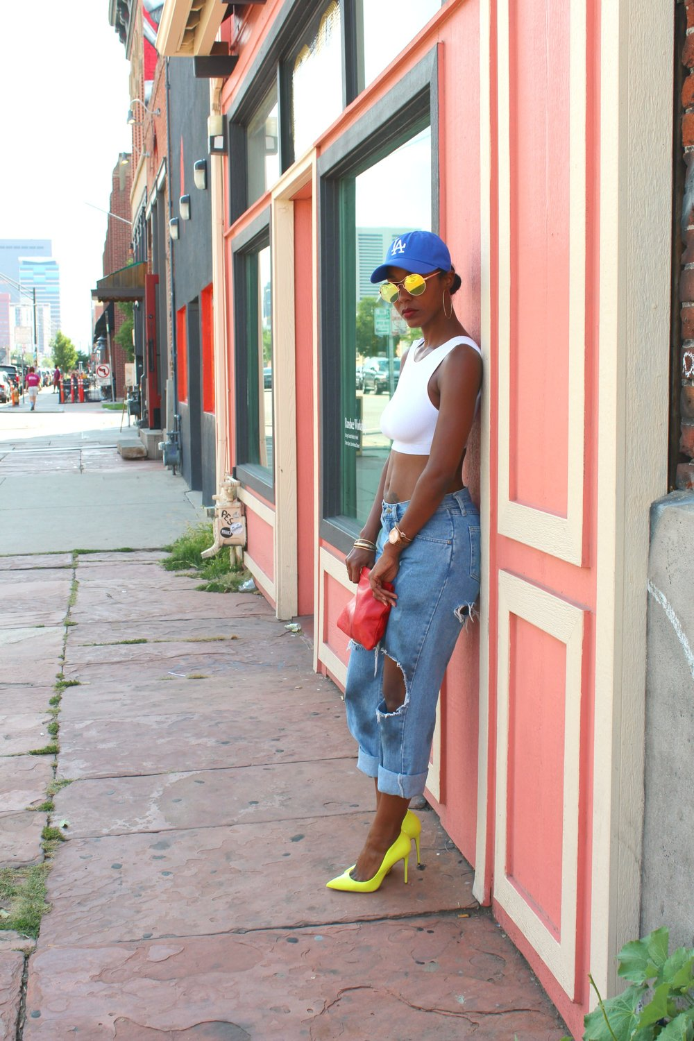LA Dodger Cap with Yellow Heels