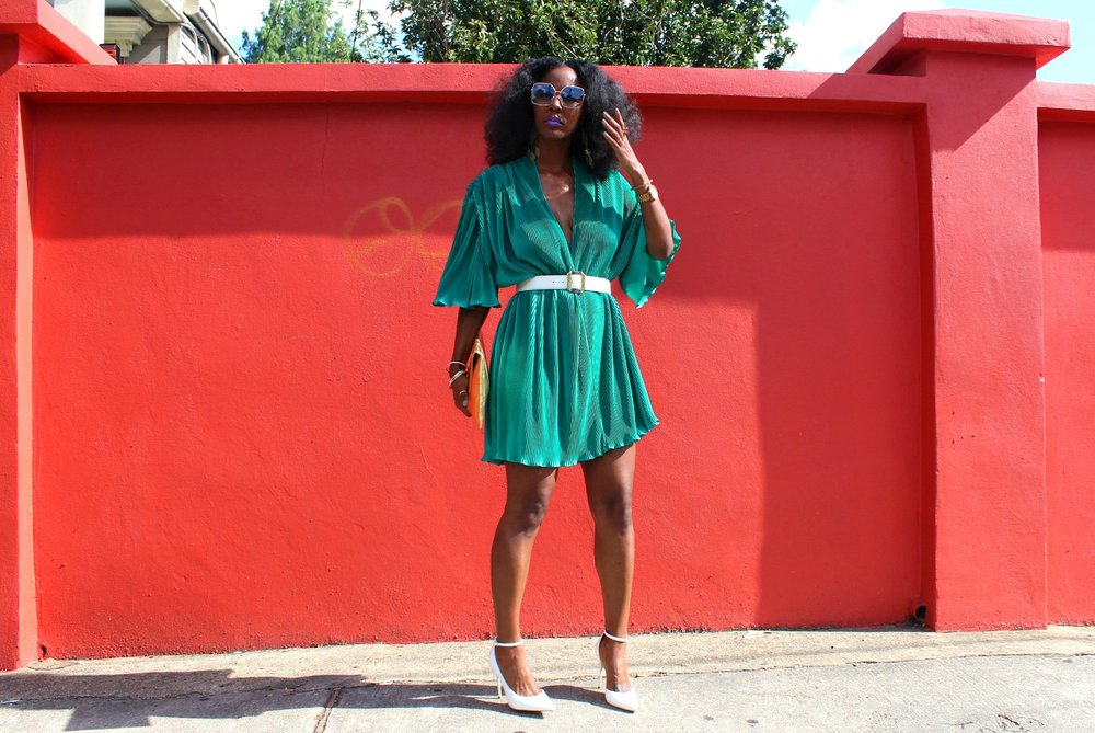 Samjah Iman in vintage teal dress