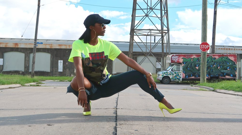 Vintage Tee Shirt and Neon Yellow Pumps