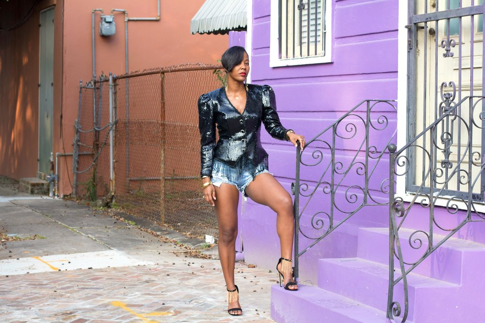 Samjah Iman in Vintage Sequin Blazer