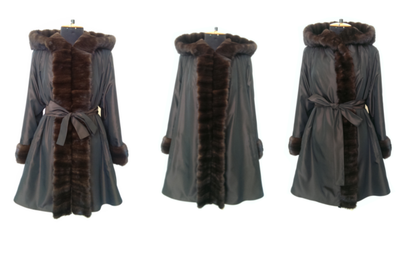 Old mink fur sheared, restyled and used as a lining for a water repellent coat.