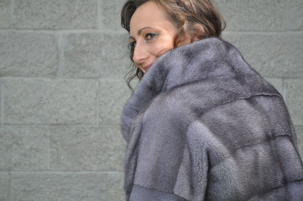 Blue Iris Mink Fur Jacket Royal Fur Club Style and Fashion