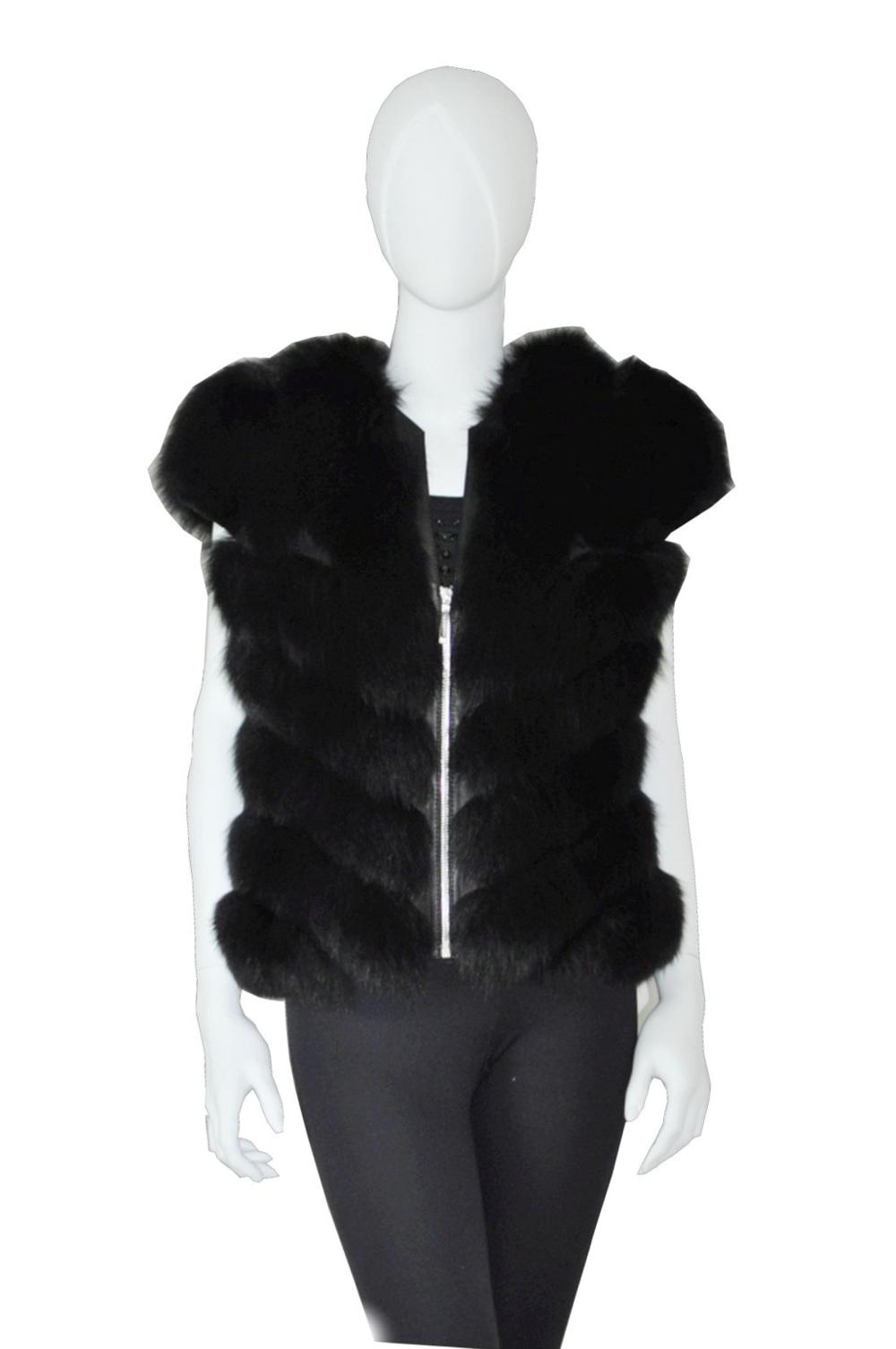 Black fox vest chevron restyling remodeling Royal Fur Club