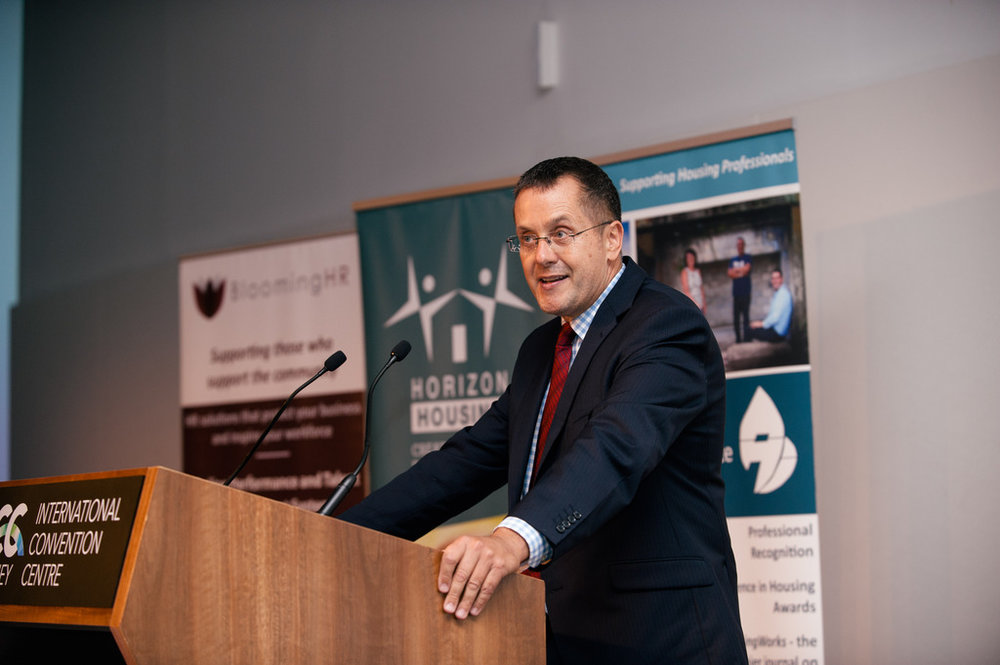 Tony's role as MC at housing conferences continued with the largest event to date - 250 people attended the AHI's national awards for Excellence in Social Housing, Sydney. Housing Action Network sponsored the main award
