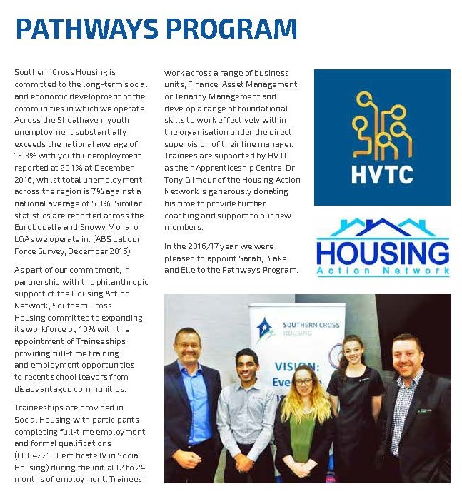 Housing Action Network has provided philanthropic funding to Southern Cross Housing to help disadvantaged young people gain access to employment and training in the community housing sector