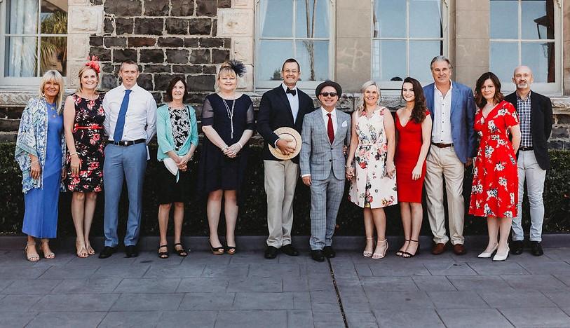 Sharyn, Jackie, Gary, Sheelagh (Tony's Aunt), Emma, Tony, John, Joanne (John's sister), Alyssa (John's niece), Jen, Richard (master of ceremonies)