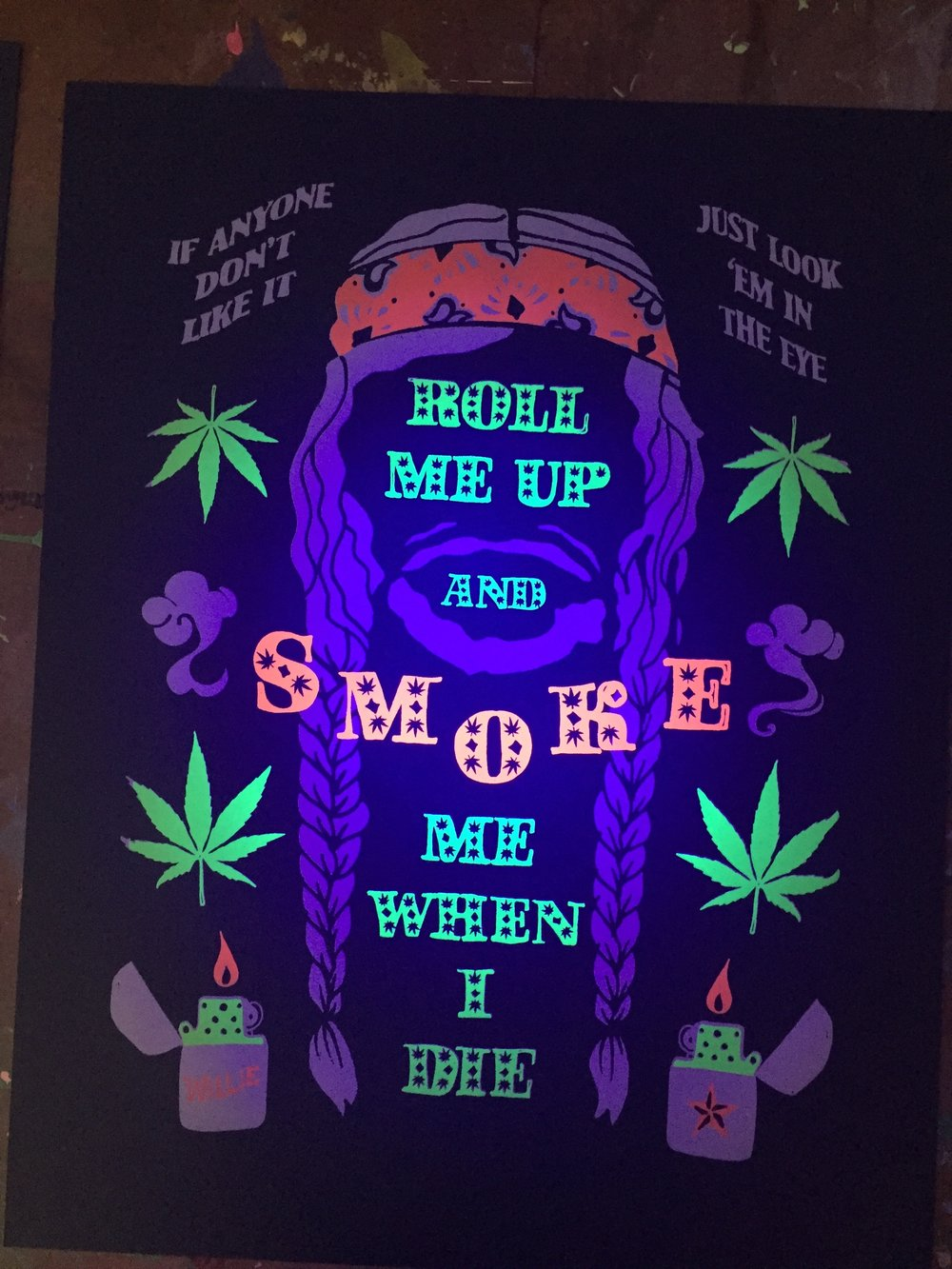 Willie Nelson Blacklight Print