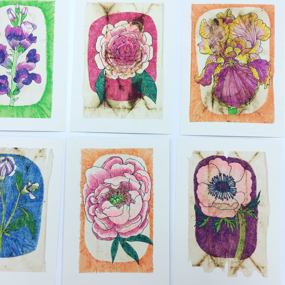 Plant Portraits (pen and marker on recycled tea bags)