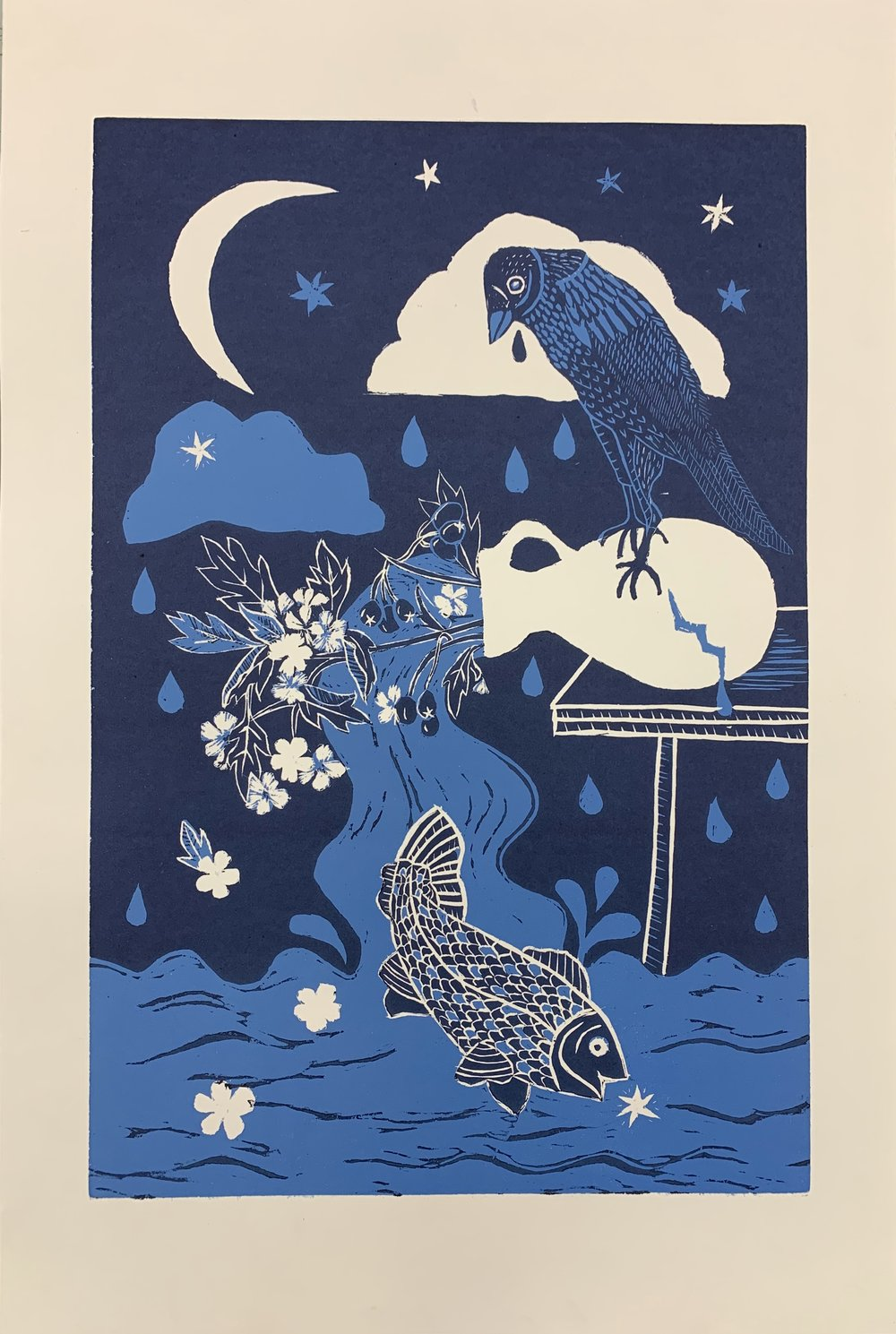 Grieve/Surrender (woodblock print)