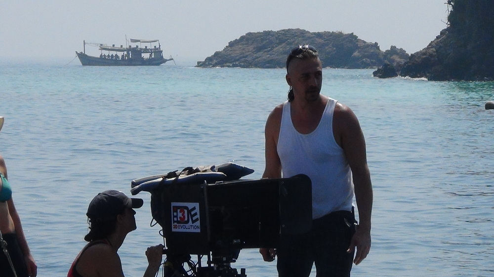 3DE co-founder, Kit Mallet on set in Thailand with 3D Evolution
