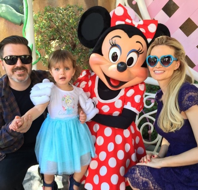 The King and Queen of Electric Daisy Carnival and Princess Rainbow Aurora pictured here with Minnie Mouse. Photo credit: Holly Madison's Instagram.